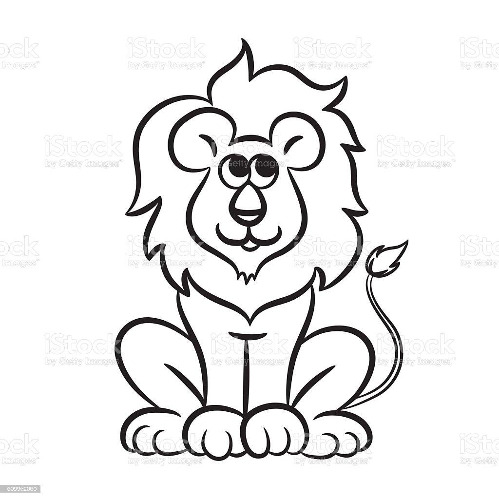 Cartoon lion. vector art illustration
