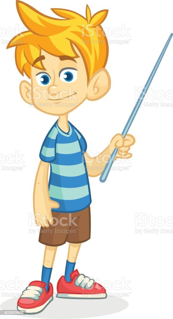 Cartoon little boy in shorts and striped t-shirt. Vector illustration of a funny make presentation with pointer vector art illustration