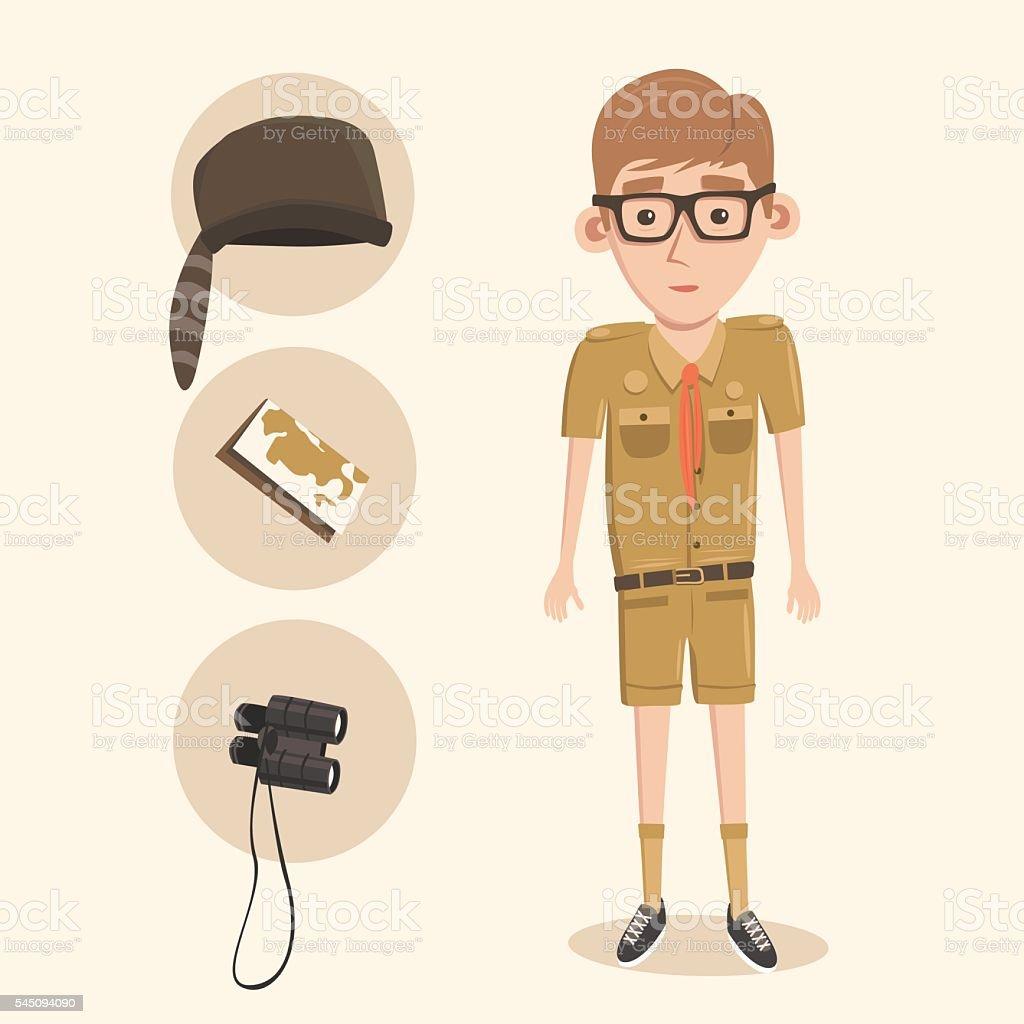 Cartoon little boy scout. vector art illustration