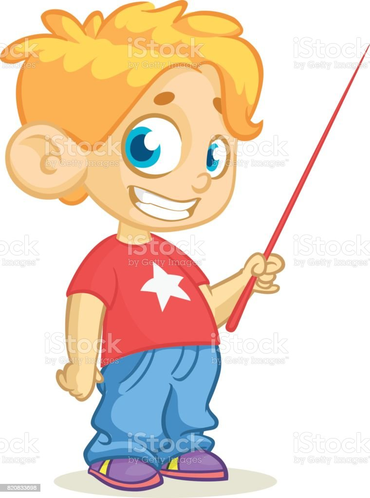 Cartoon little cute blond boy character presenting with a pointer. Vector illustration of a small boy presenting. Presentation clip art vector art illustration