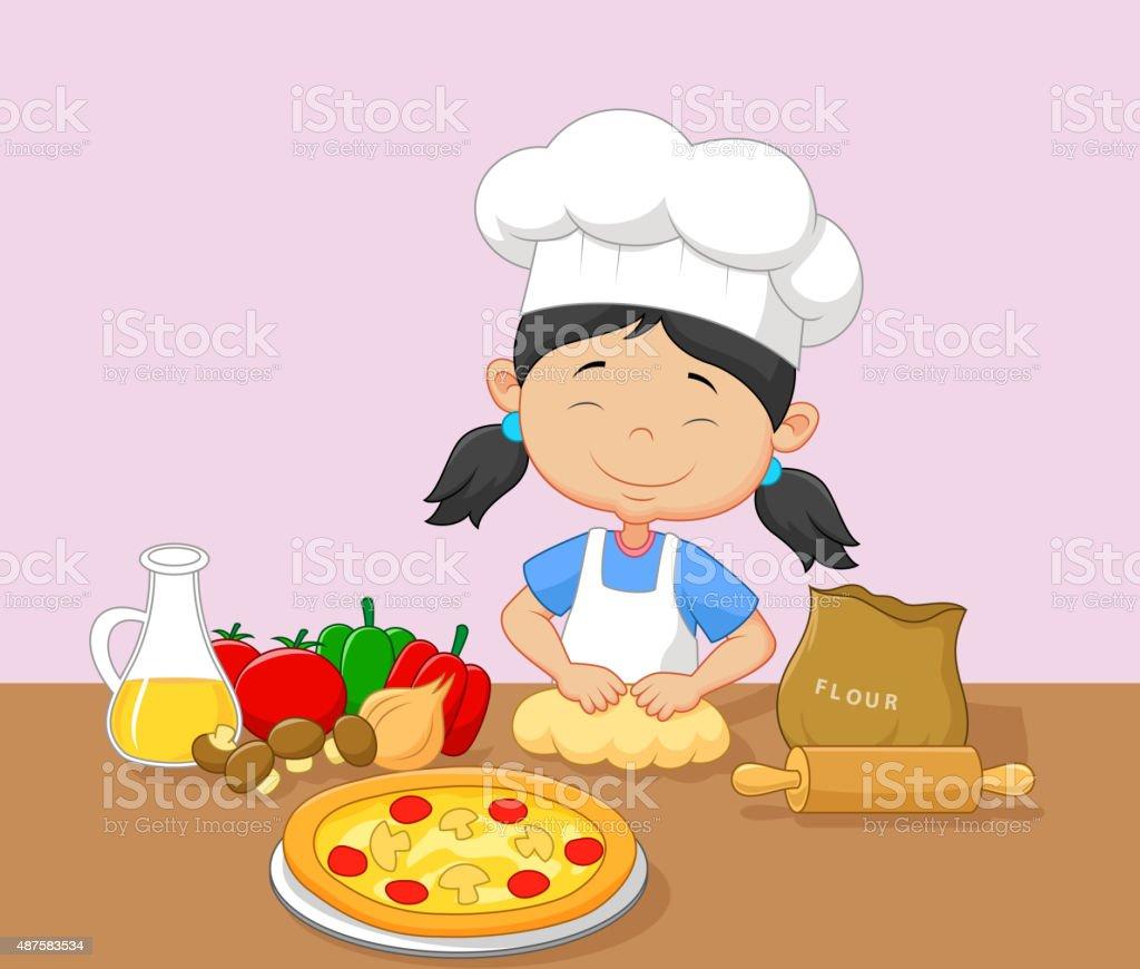 Cartoon little girl baking vector art illustration