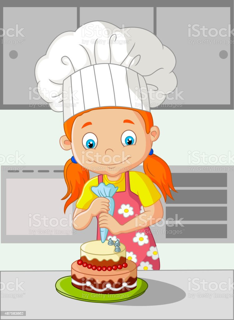 Cartoon little girl cooking cake vector art illustration