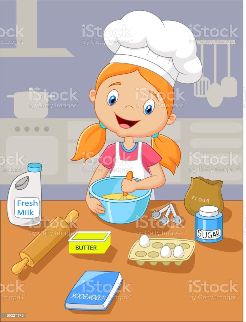 Cartoon little girl holding batter cake vector art illustration