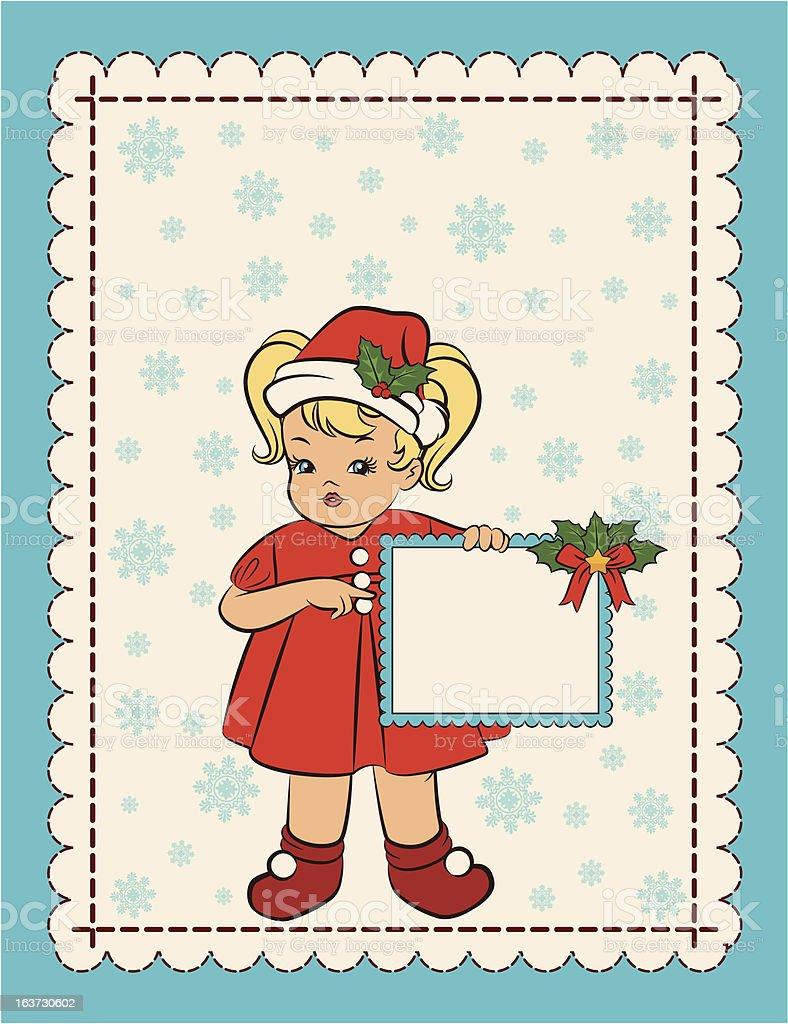 Cartoon little girl in suit Snow Maiden. Vector royalty-free stock vector art