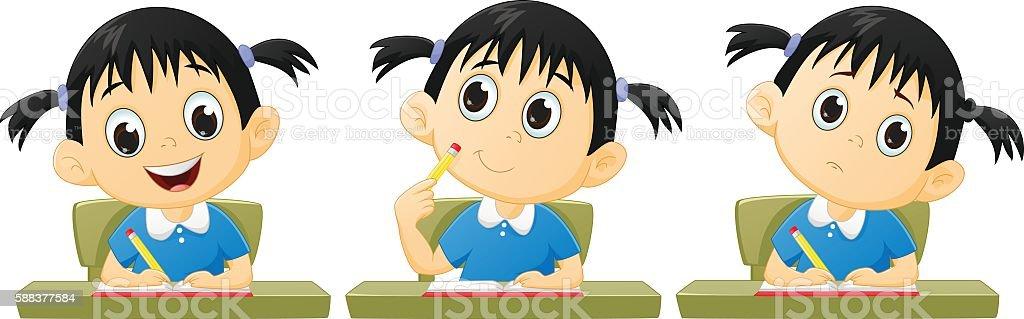 cartoon little girl studying vector art illustration