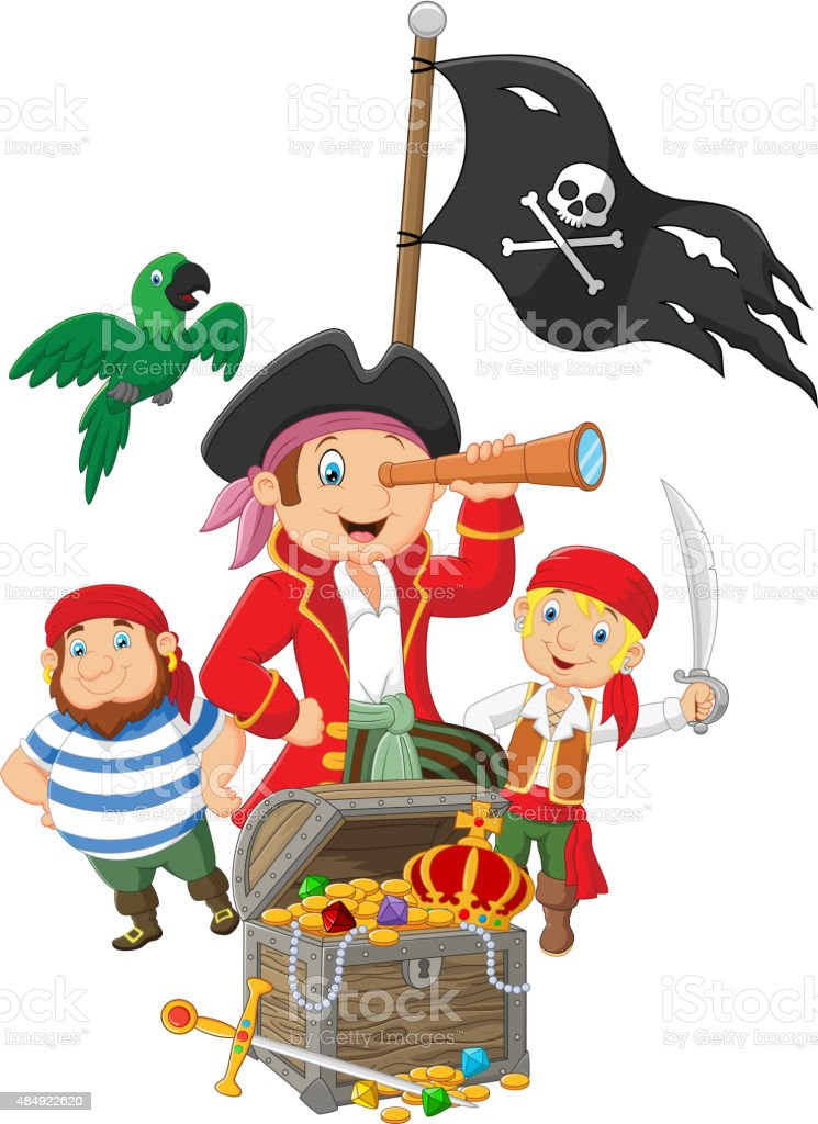 Cartoon Little kids trapped in area of the treasure island vector art illustration