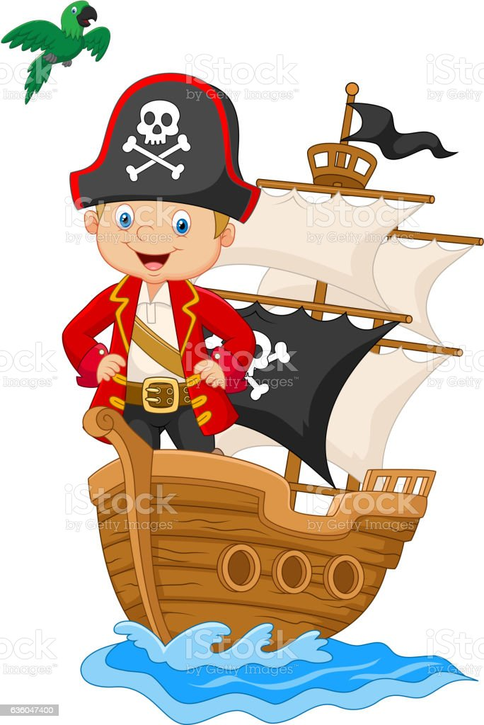 Cartoon little pirate on his ship vector art illustration