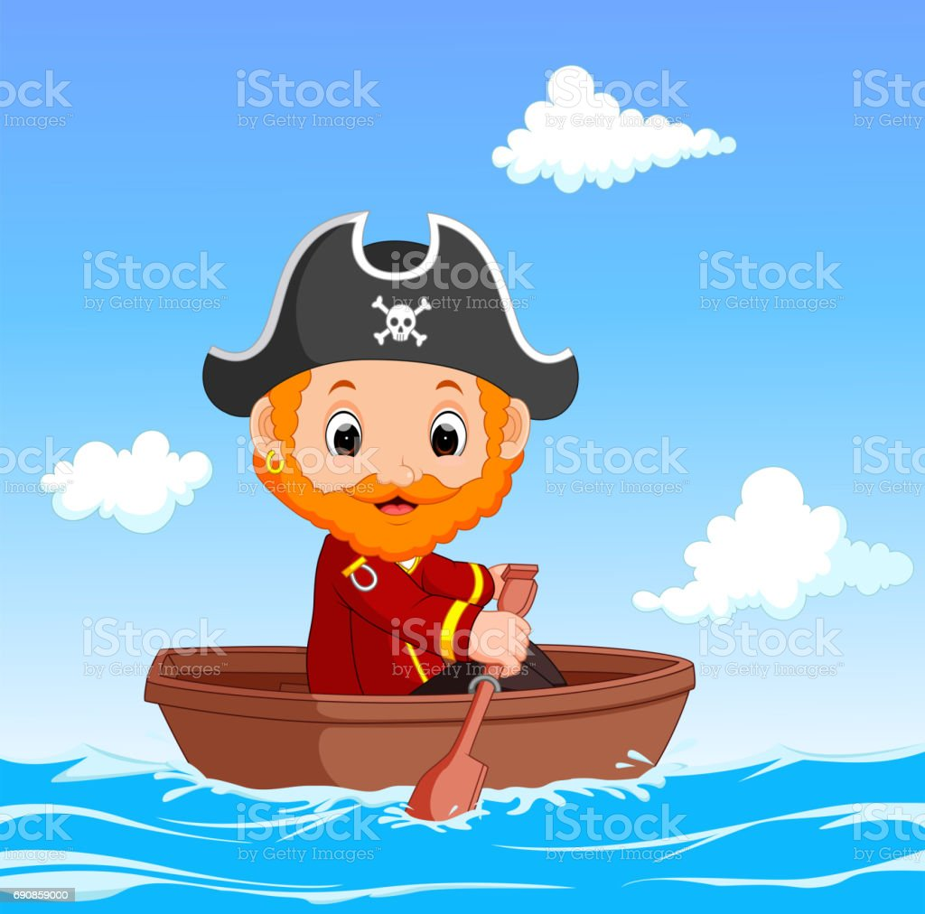 Cartoon little pirate was surfing the ocean vector art illustration