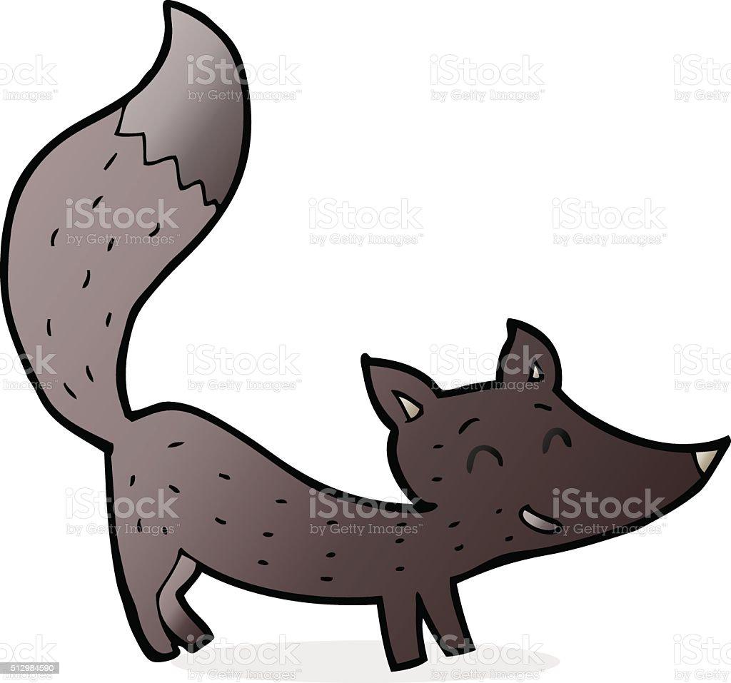 cartoon little wolf cub vector art illustration