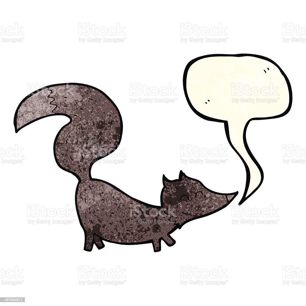 cartoon little wolf cub with speech bubble vector art illustration