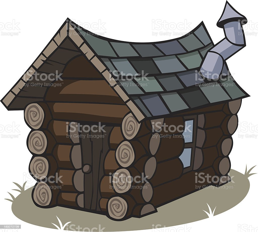 Cartoon Log Cabin vector art illustration
