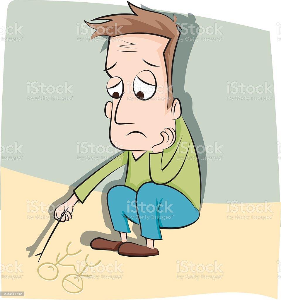 cartoon lonely man vector art illustration