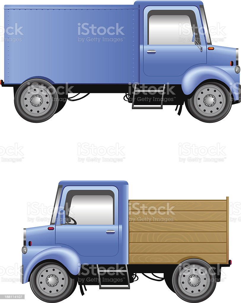 Cartoon lorries isolated on white vector art illustration