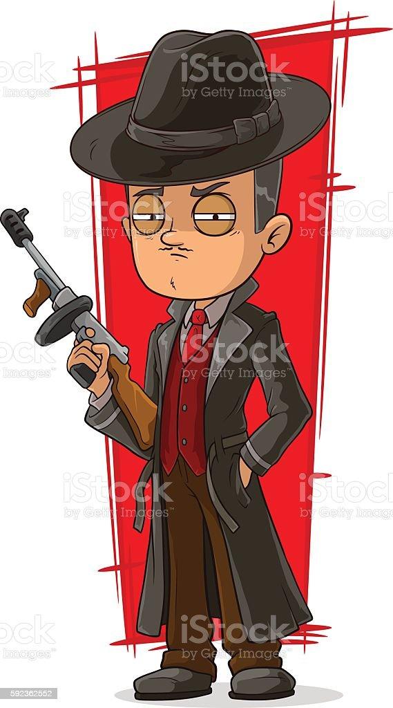 Cartoon mafiosi in black with gun vector art illustration