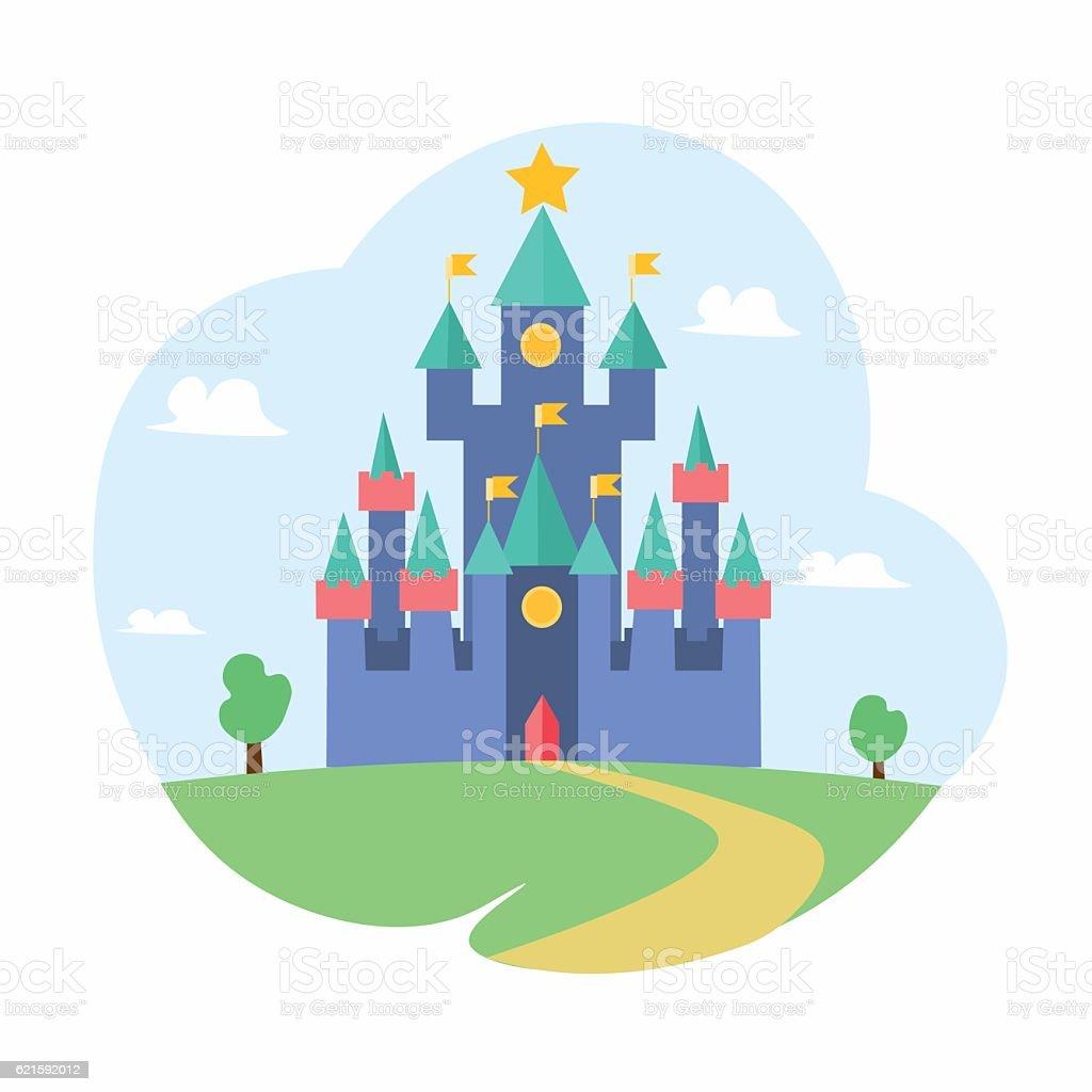 Cartoon Magic Castle Fairytale Medieval House. Vector vector art illustration