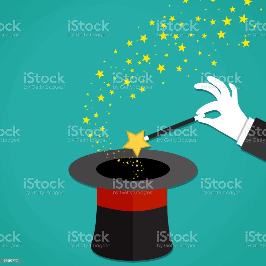 Cartoon Magicians hands holding a magic wand vector art illustration