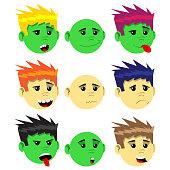 Cartoon Male Emotion face set.