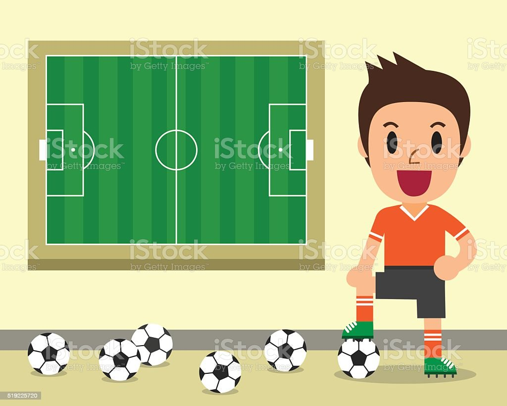 Cartoon male soccer player and soccer field template vector art illustration