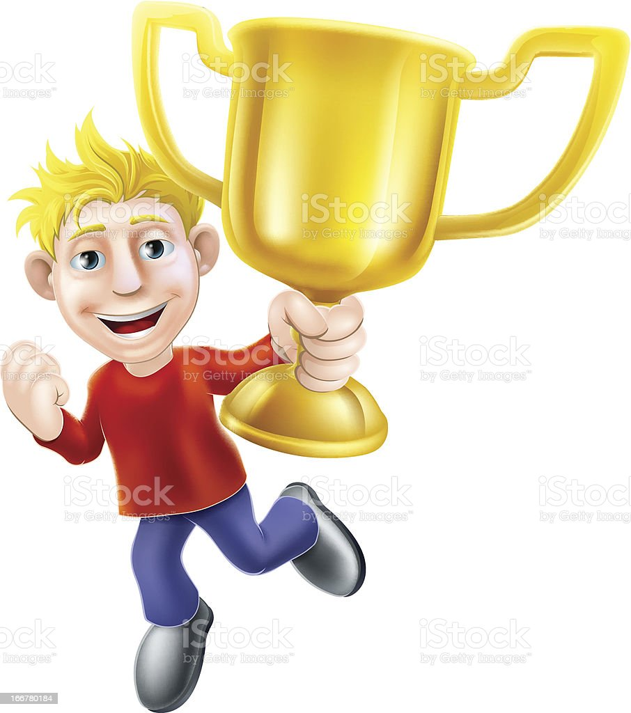 Cartoon man and winners trophy royalty-free stock vector art