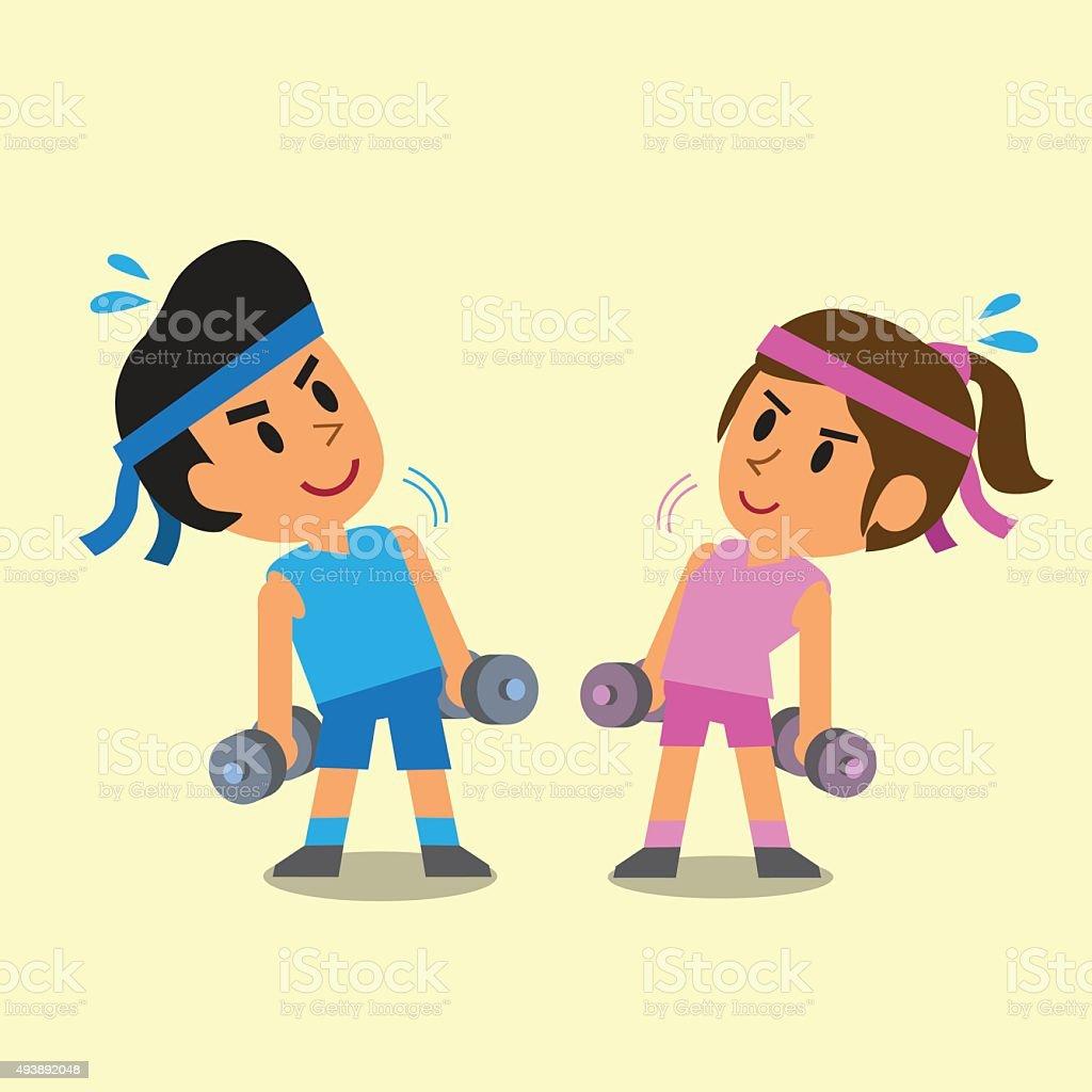 Cartoon man and woman doing dumbbells exercise vector art illustration