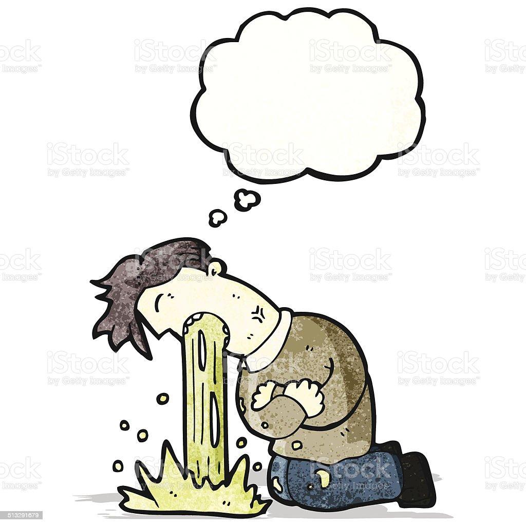 cartoon man being sick vector art illustration