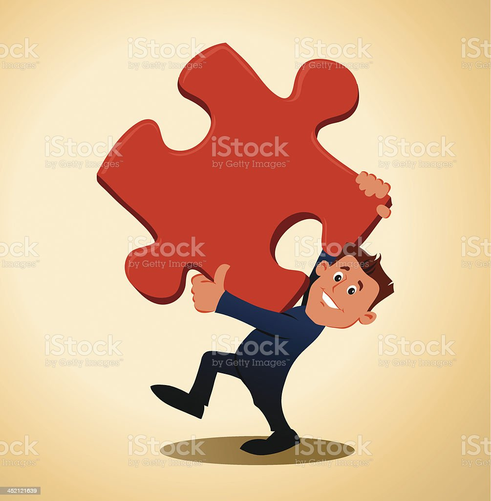 Cartoon Man Carrying a Missing Piece of Puzzle royalty-free stock vector art