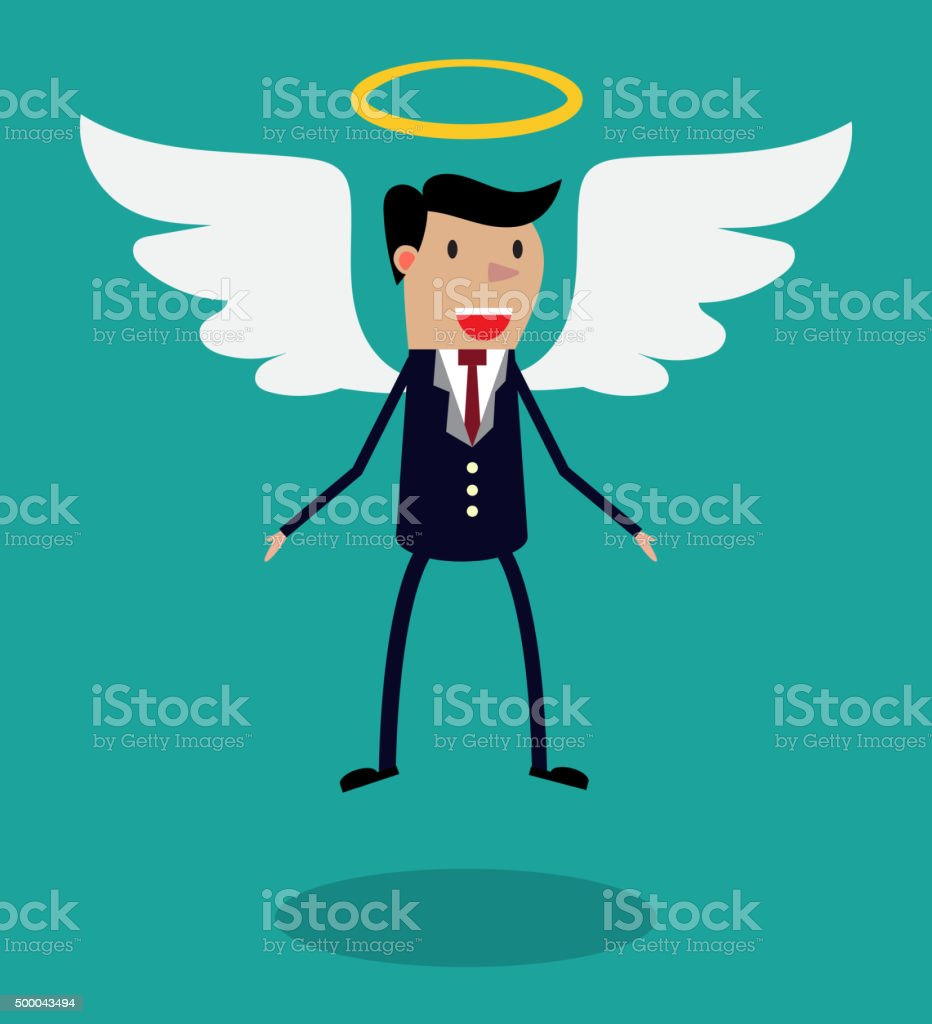 Cartoon man character in business suit with wings vector art illustration