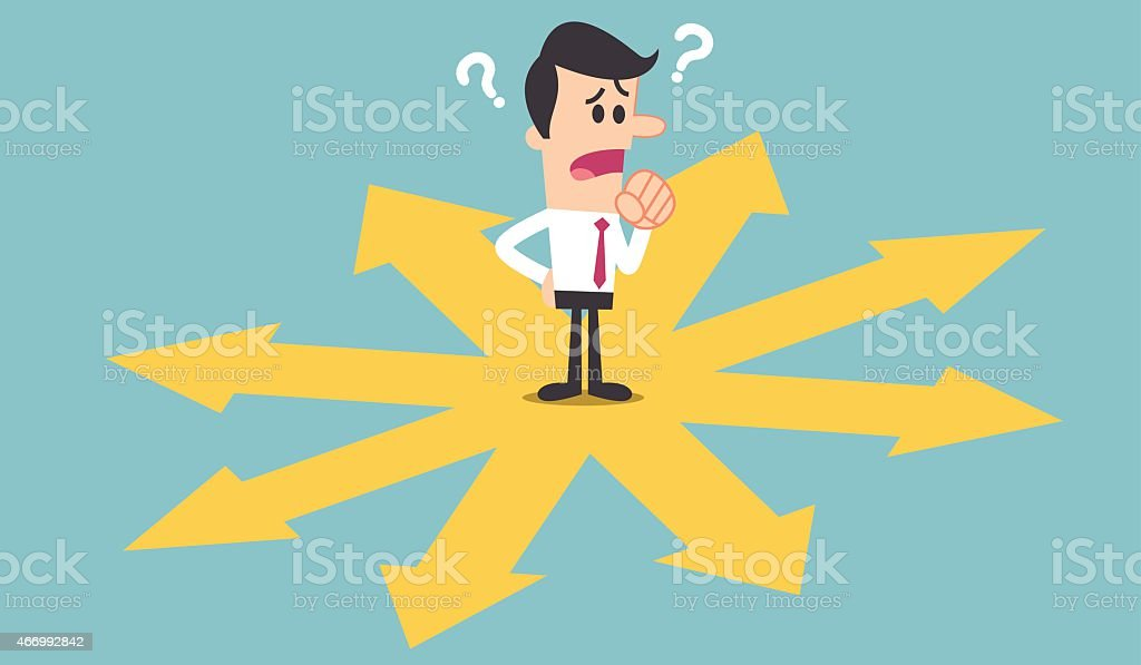 Cartoon man confused about which direction to take vector art illustration