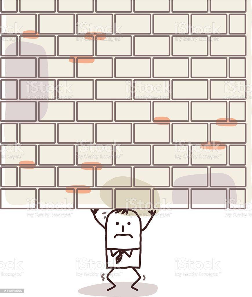 cartoon man crushed under a heavy wall vector art illustration