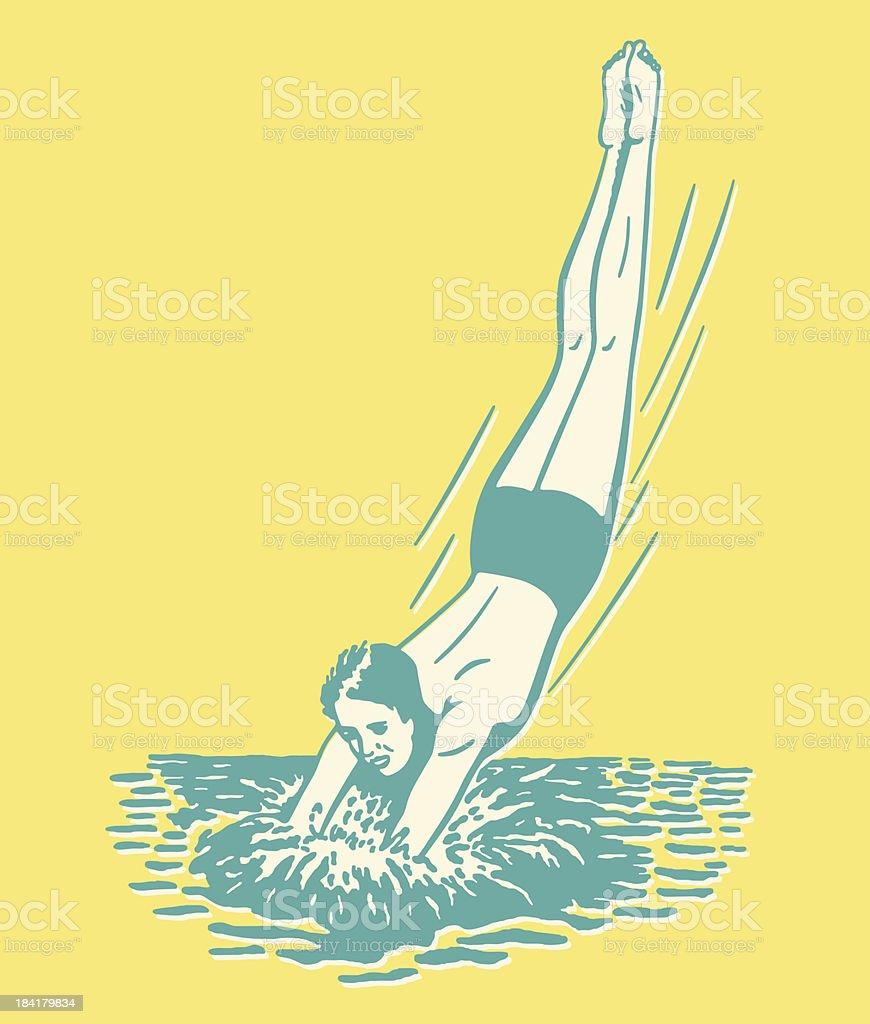 Cartoon man diving into the water vector art illustration