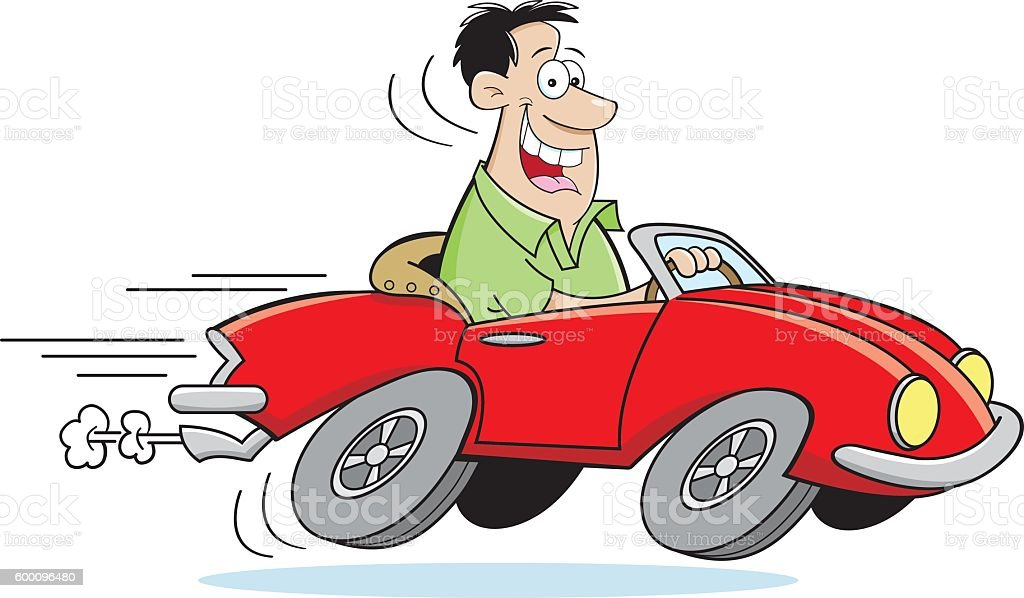 Cartoon Man Driving a Car vector art illustration