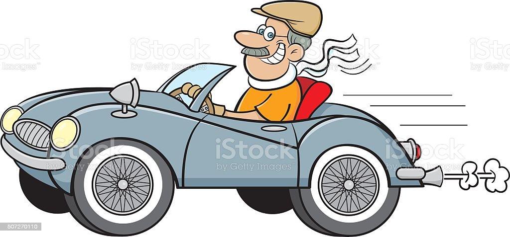 Cartoon Man Driving a Sports Car. vector art illustration