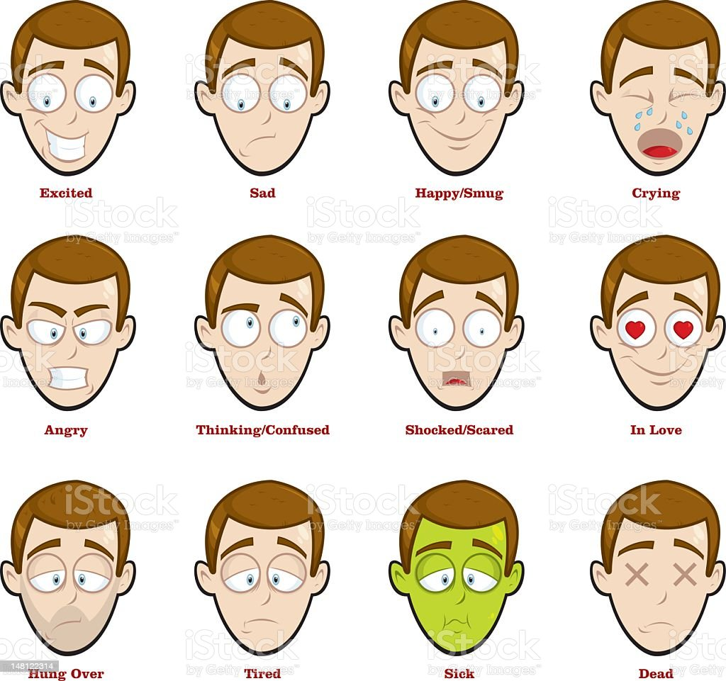 Cartoon man expressing sixteen different emotions vector art illustration