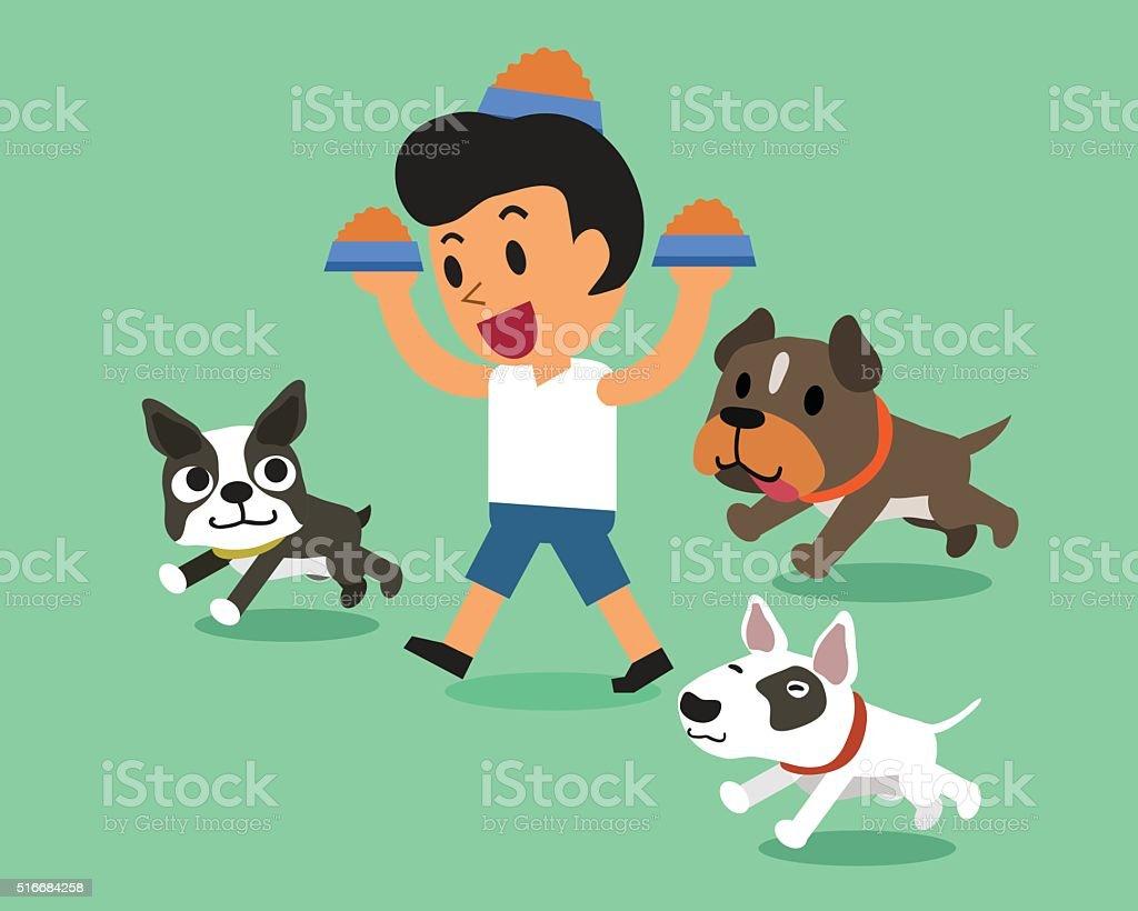 Cartoon man feeding dogs vector art illustration