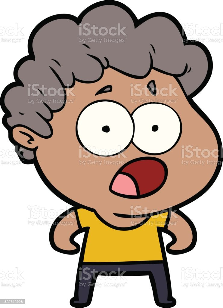 cartoon man gasping in surprise vector art illustration