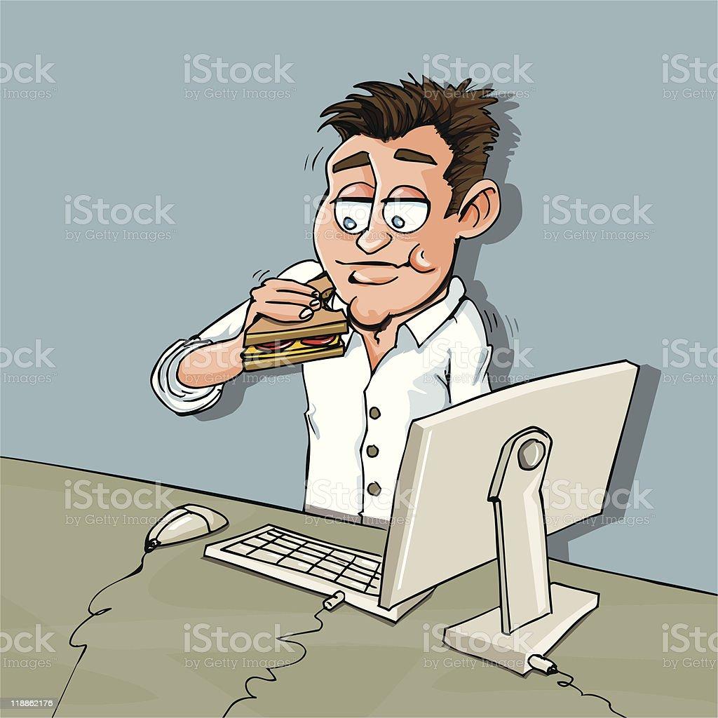 Cartoon man having lunch at his desk royalty-free stock vector art