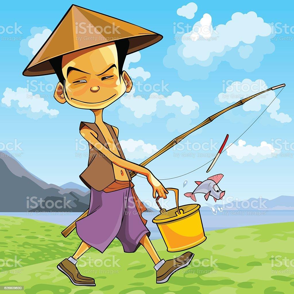 cartoon man in a Vietnamese hat walks with a fishing rod vector art illustration
