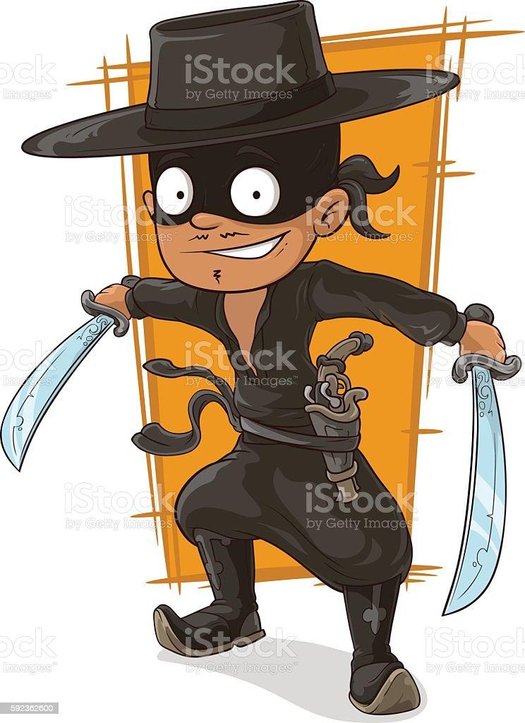 Cartoon man in black mask with swords vector art illustration