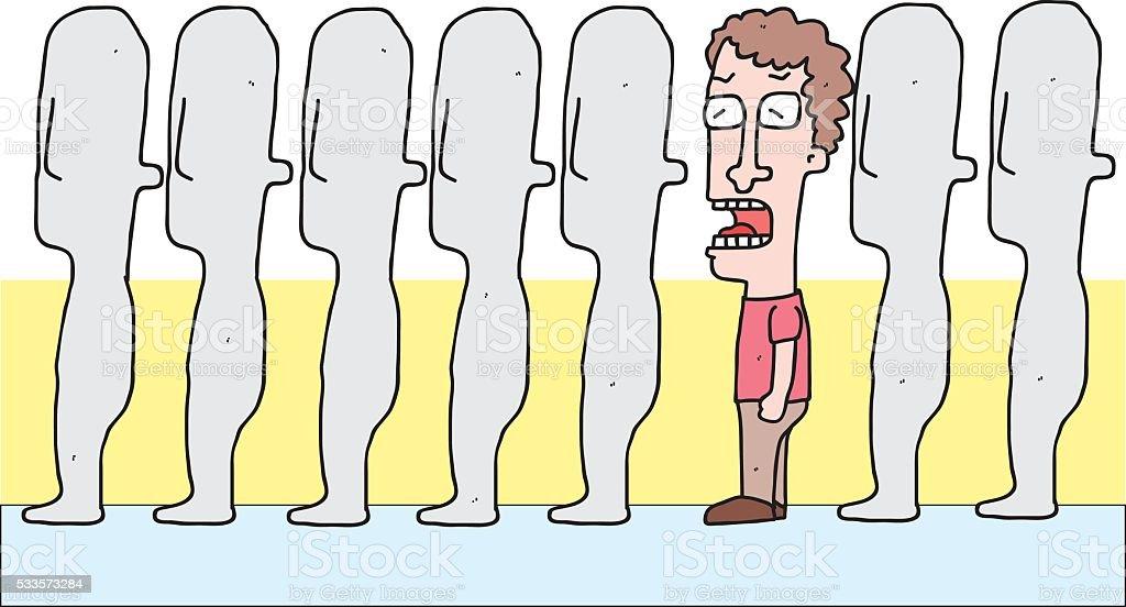 cartoon man in queue vector art illustration