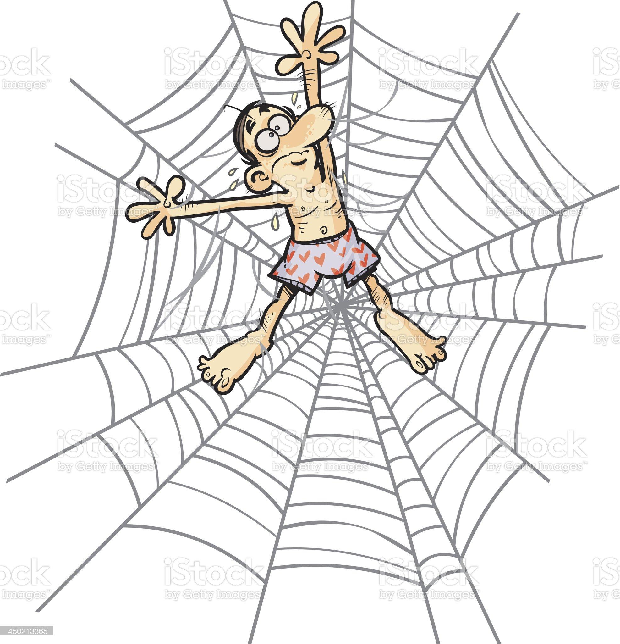 Cartoon Man in Spider web. royalty-free stock vector art