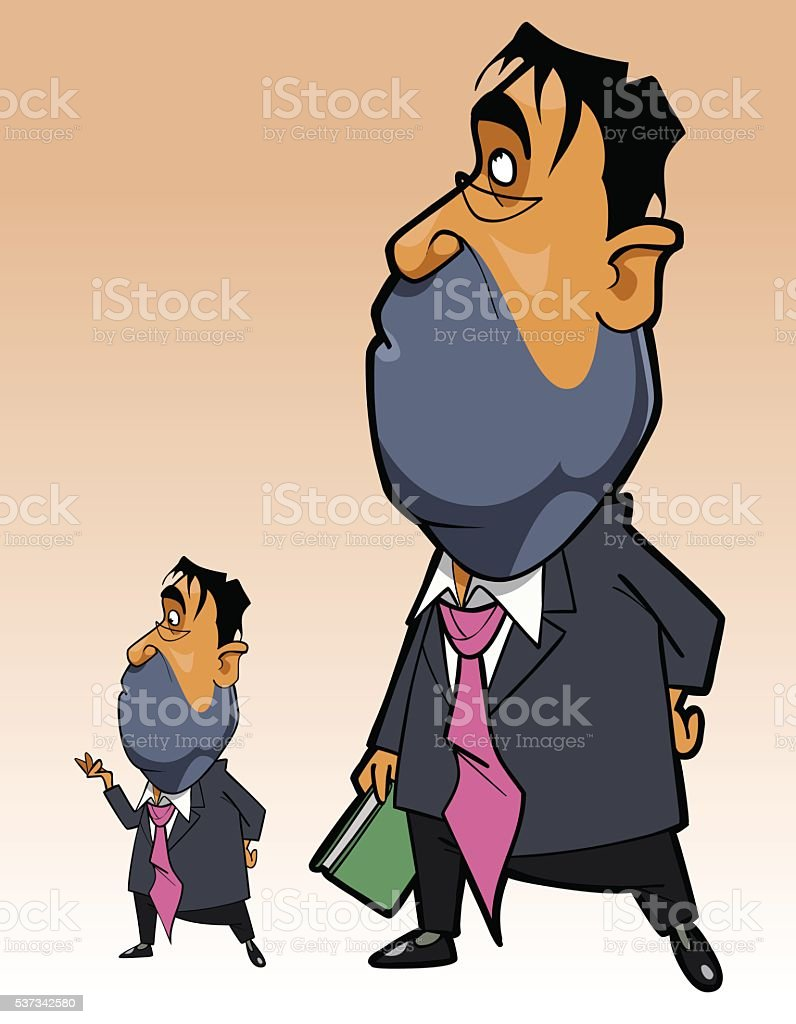 cartoon man in suit with folder in his hand standing vector art illustration