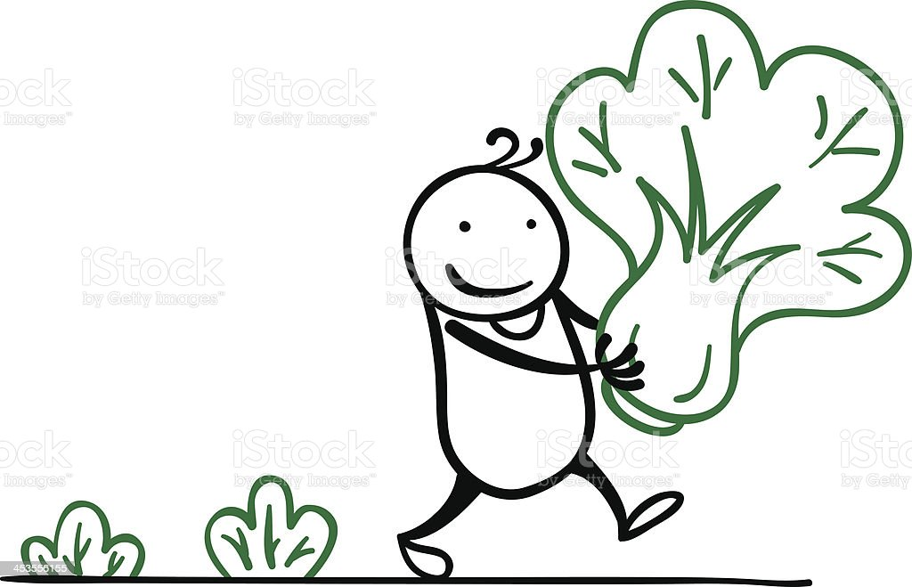 Cartoon man is collecting vegetable royalty-free stock vector art