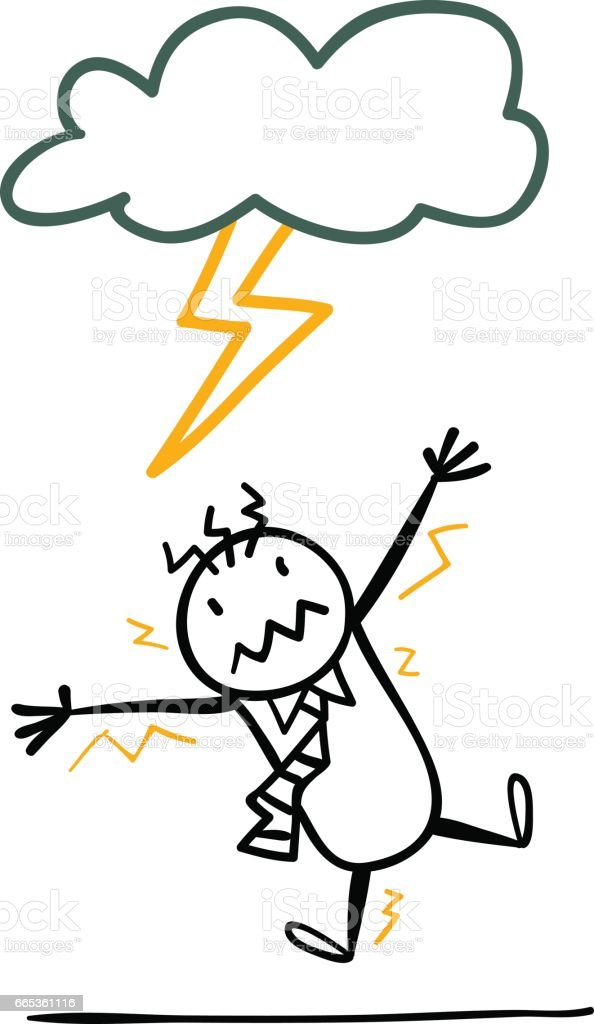 Cartoon man is hitted by a thunder vector art illustration