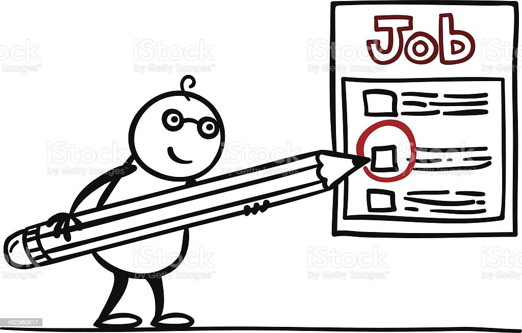Cartoon man is looking for a job royalty-free stock vector art