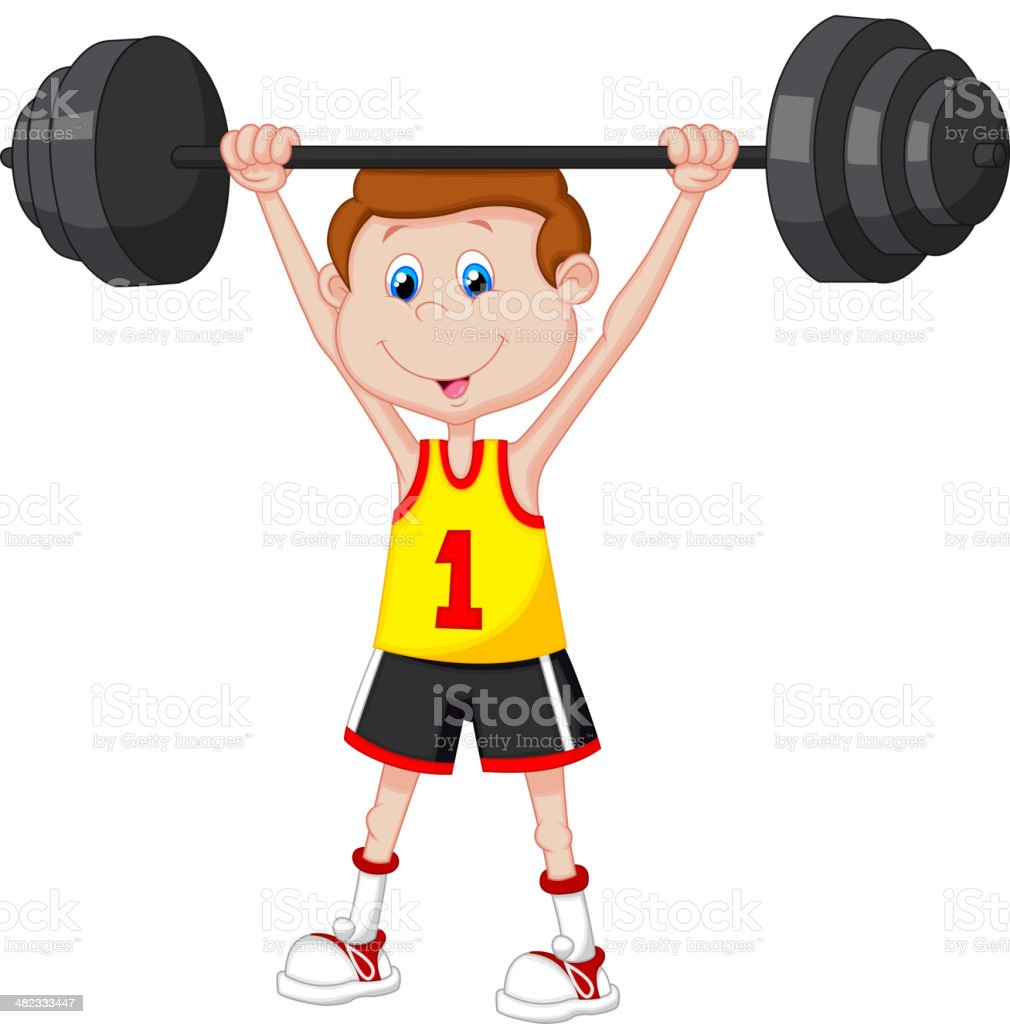Homme en dessin anim de musculation avec halt res stock - Musculation dessin ...