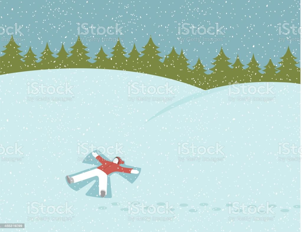 Cartoon man making a snow angel with evergreens in back vector art illustration