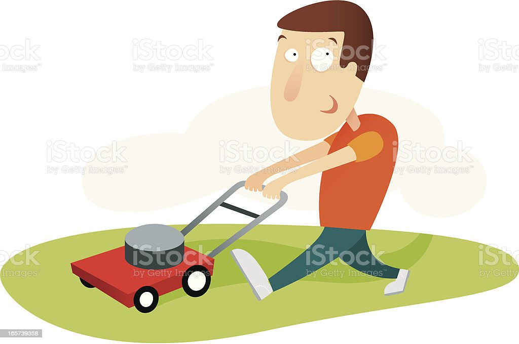 Cartoon man mowing grass on white background  royalty-free stock vector art