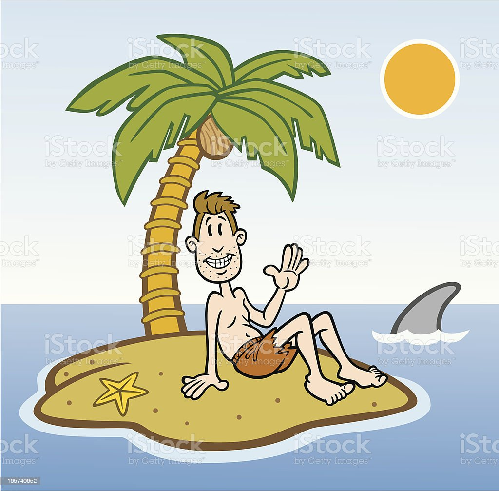 Cartoon Man on Deserted Island royalty-free stock vector art