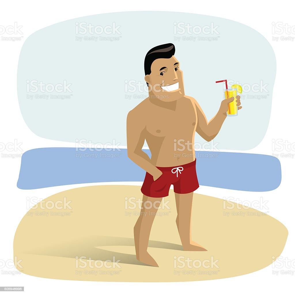 homme en dessin animé sur la plage avec un cocktail stock vecteur