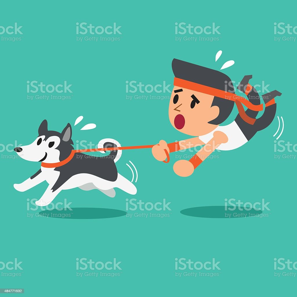Cartoon man pulled by his siberian husky dog vector art illustration